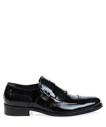 Black leather slip-on shoes