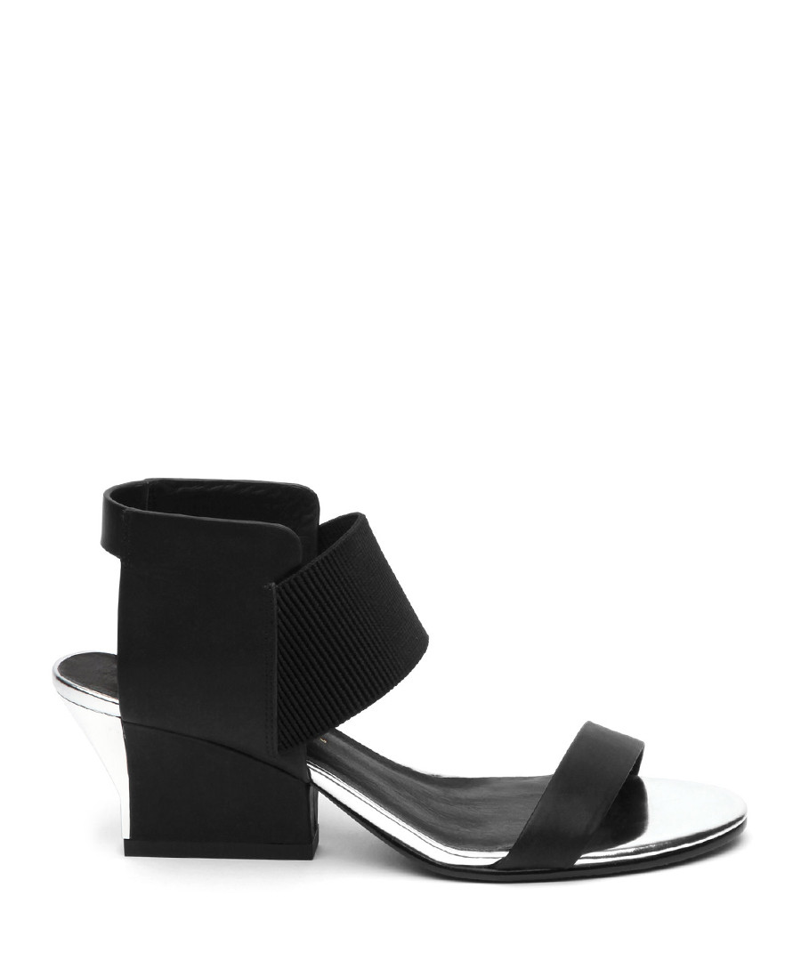 Black & silver-tone leather sandals Sale - Jady Rose