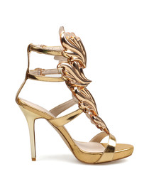 Gold leather leaf detail strappy heels