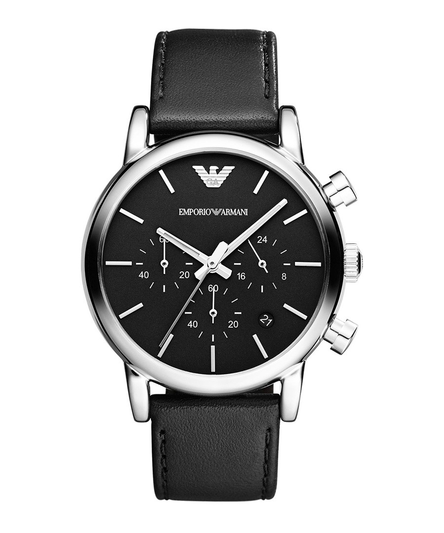 Black leather & stainless steel watch Sale - Emporio Armani
