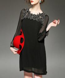 Black flower embellished sheer dress