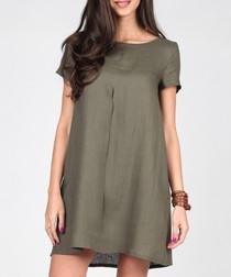 Khaki linen Tshirt dress
