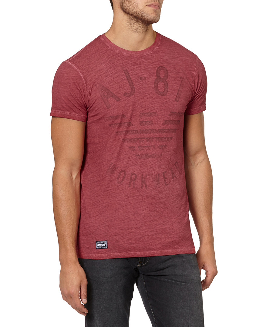 Red pure cotton large logo T-shirt Sale - armani jeans