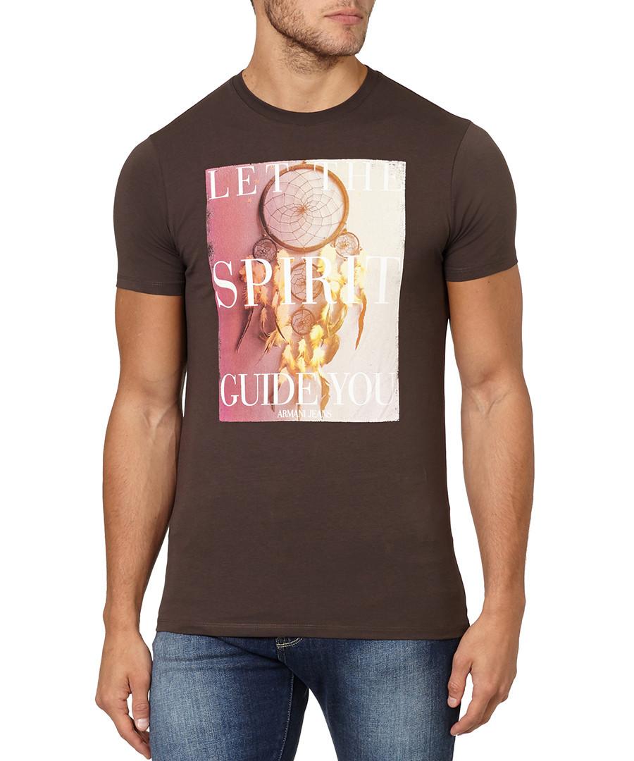 Brown cotton dream catcher T-shirt Sale - armani jeans