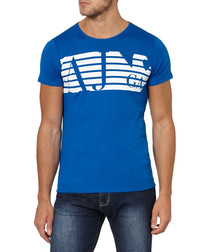 Royal blue pure cotton logo T-shirt