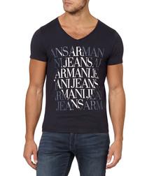 Navy pure cotton V-neck logo T-shirt