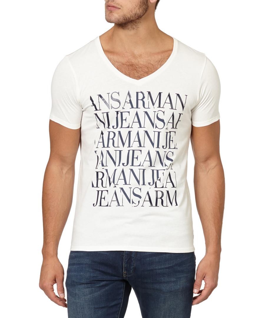 White pure cotton V-neck logo T-shirt Sale - armani jeans