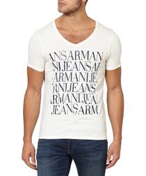 White pure cotton V-neck logo T-shirt