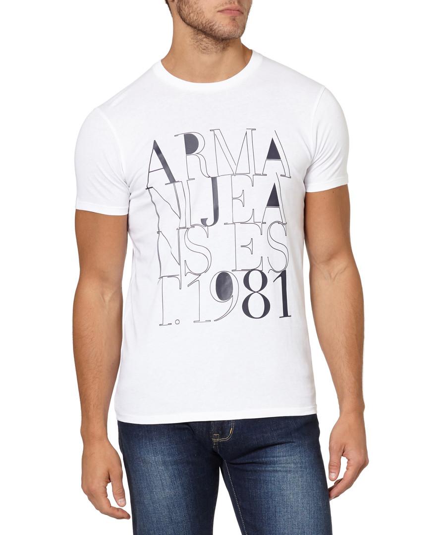White pure cotton 1981 logo T-shirt Sale - armani jeans