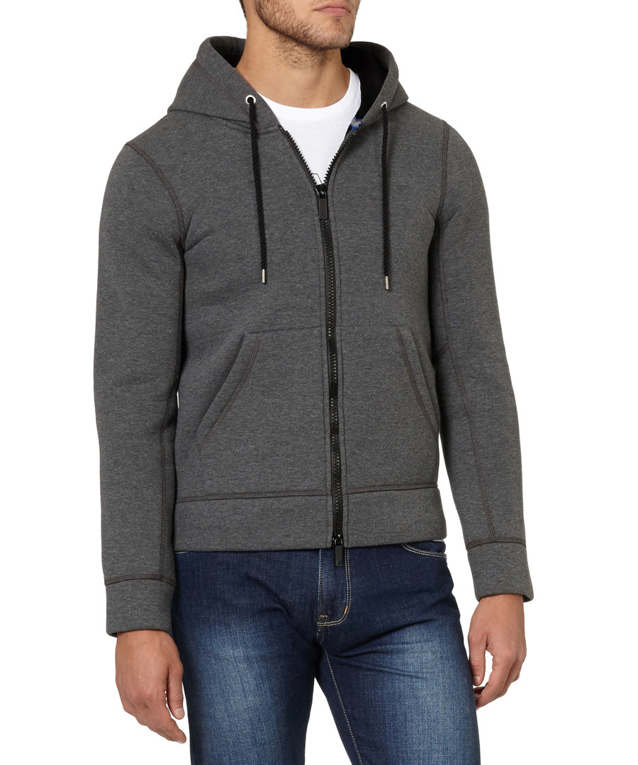 Grey cotton blend zip-up hoodie Sale - armani jeans