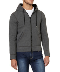 Grey cotton blend zip-up hoodie