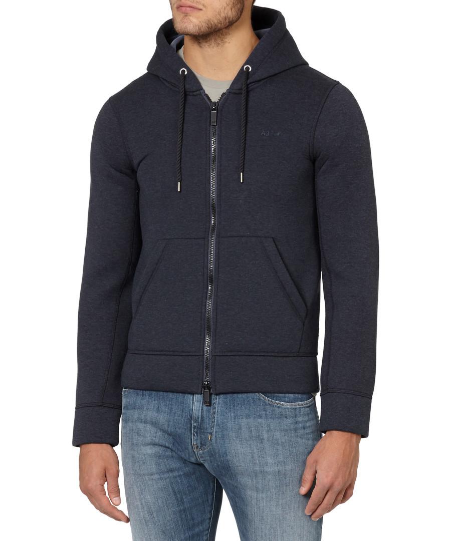 Navy cotton blend zip-up hoodie Sale - armani jeans