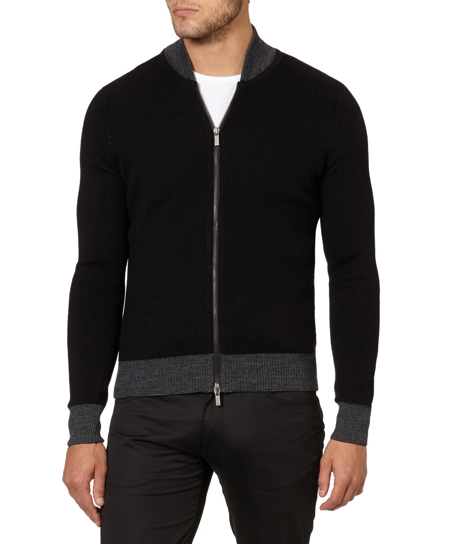 Black & grey wool blend zip-up jumper Sale - armani jeans