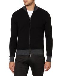 Black & grey wool blend zip-up jumper