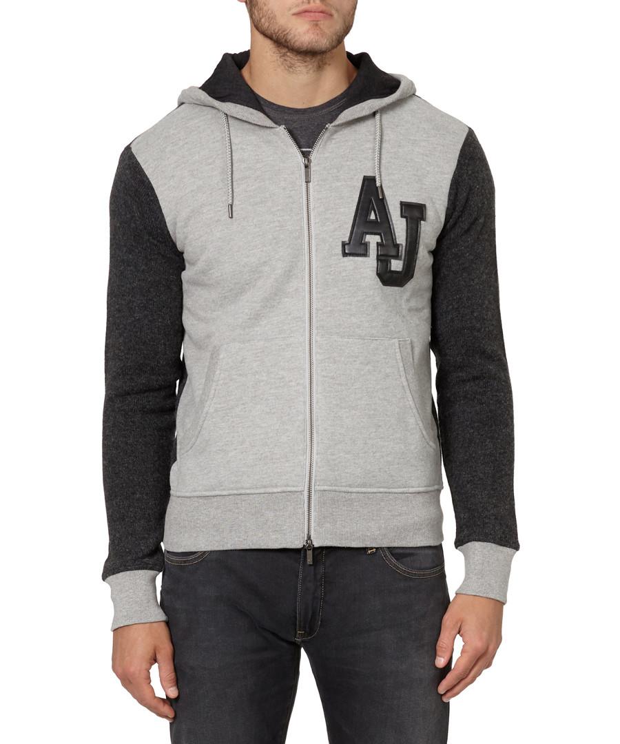 Grey wool blend dual-tone hoodie Sale - armani jeans