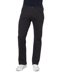 Dark blue cotton blend trousers