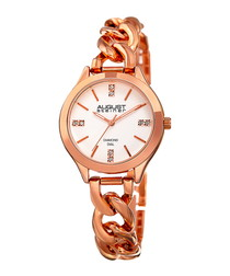 Rose gold-tone chain link watch