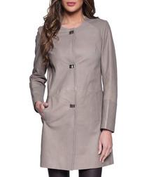Iolanda stone leather coat