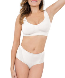 White mid-waisted shaping briefs