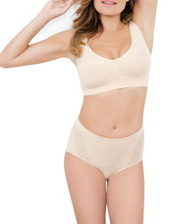 Nude mid-waisted shaping briefs