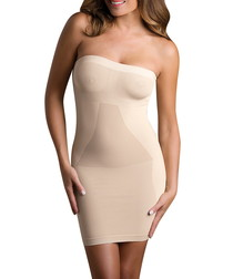 Nude strapless shaping dress