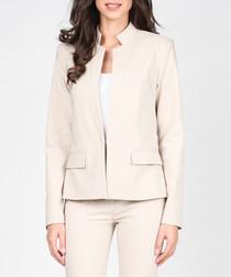 Beige cotton blend tailored jacket