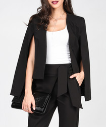 Black cotton blend cropped cape