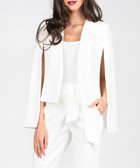 White cotton-blend cropped cape