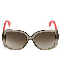Brown & coral gradient square sunglasses