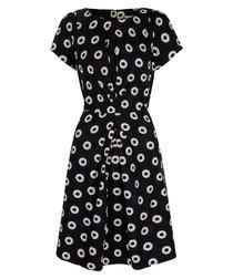 Black daisy print cotton blend dress