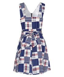 Blue & white check zip-up dress