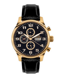 Excellence gold-tone black leather watch