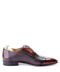 Bordeaux moc-croc panel leather oxfords