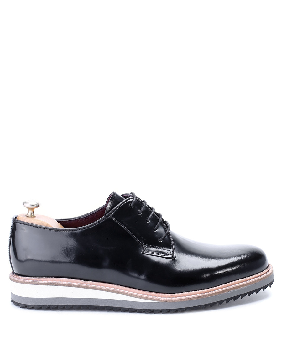 Black leather contrast sole derby shoes Sale - deckard