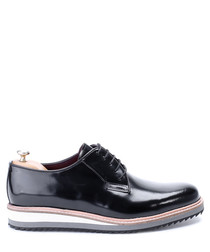 Black leather wedge Derby shoes