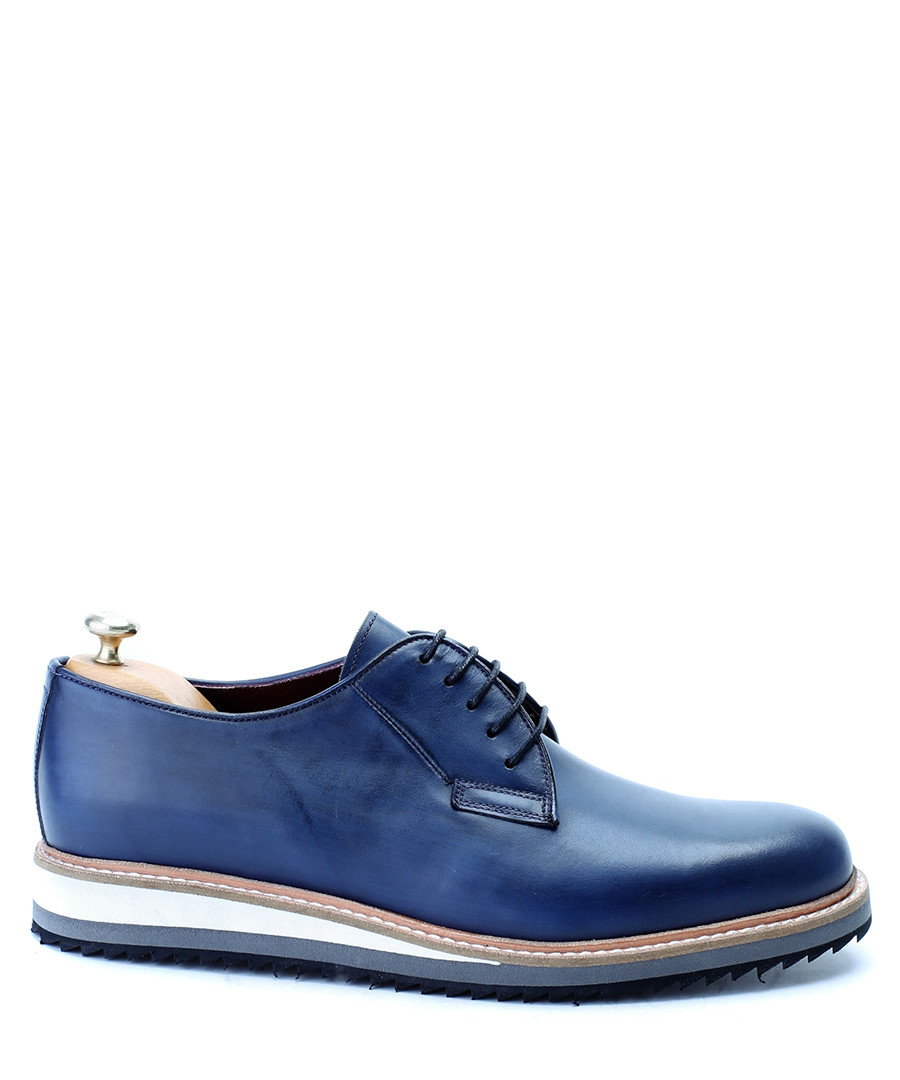 Blue leather contrast sole derby shoes Sale - deckard