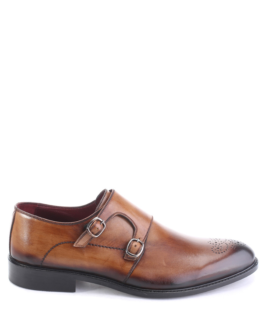 Tan leather perforated monk strap shoes Sale - deckard