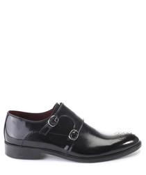 Black leather detail monk strap shoes