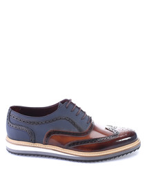 Blue & tan leather wedge derby shoes
