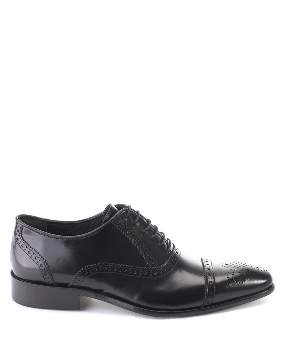 Black leather perforated oxfords Sale - deckard