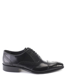 Black leather perforated oxfords