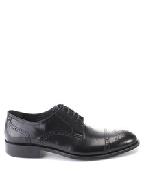 Black leather perforated Oxford shoes
