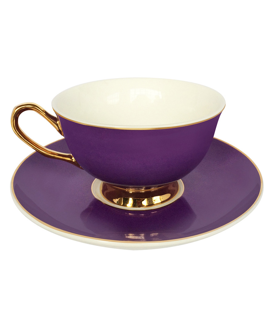 Perfect Purple china teacup & saucer Sale - bombay duck