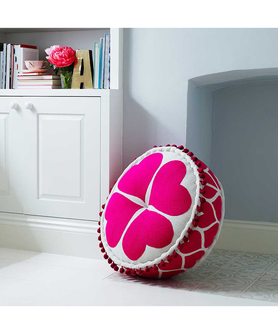 Hearts fuchsia cotton pouf Sale - bombay duck