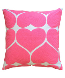 Hearts pink cotton cushion