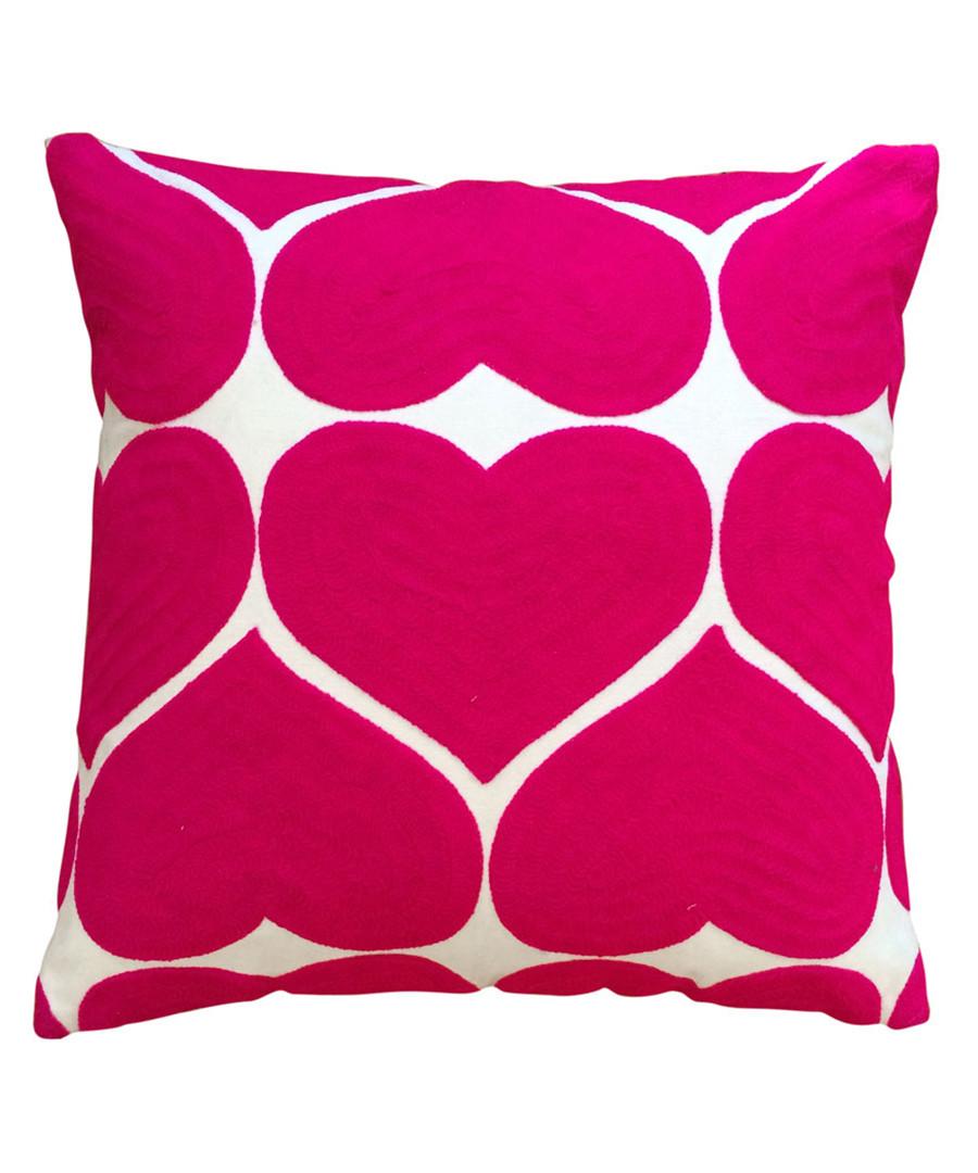 Hearts fuchsia cotton cushion Sale - bombay duck