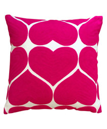 Hearts fuchsia cotton cushion
