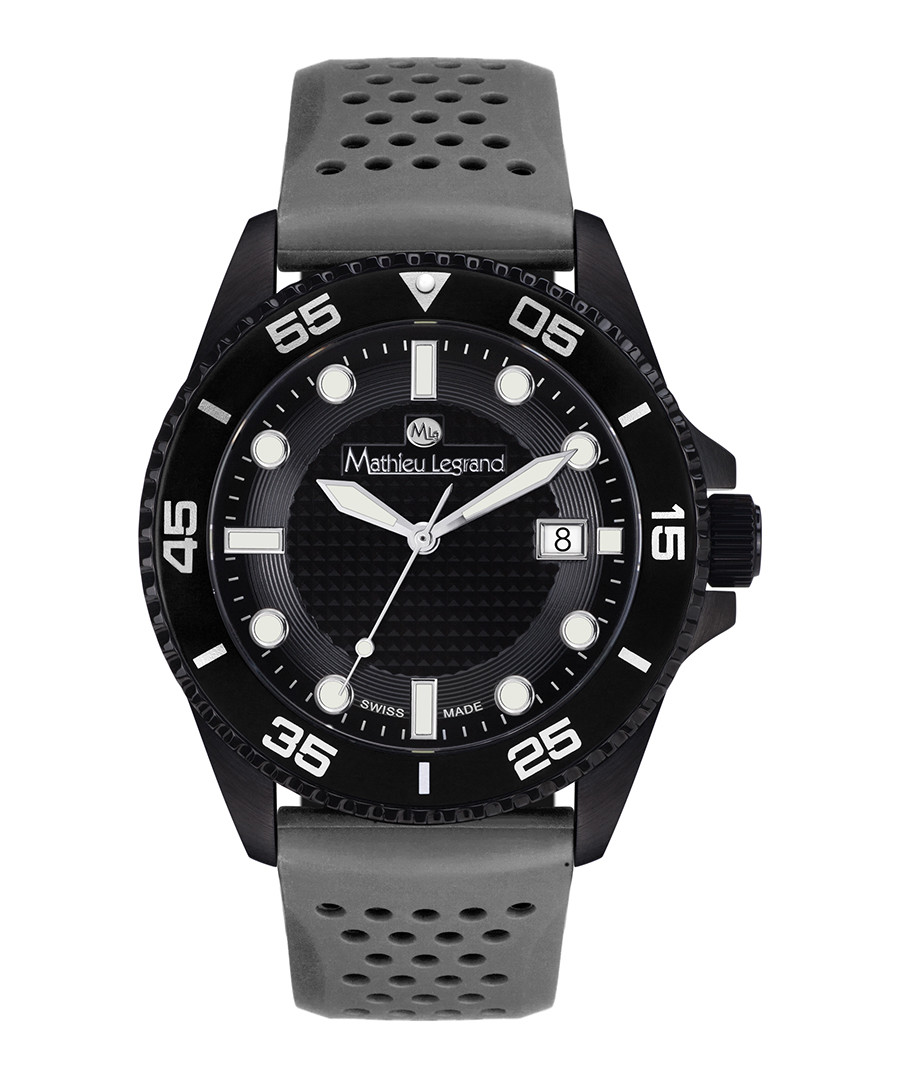 Marin grey & black silicone watch Sale - mathieu legrand