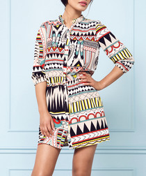Multi-coloured Aztec shirt dress