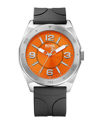 Silver-tone & black steel buckle watch